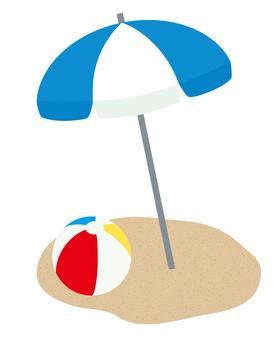 Beach umbrella and ball