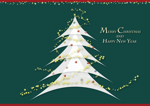 Christmas tree card cover green