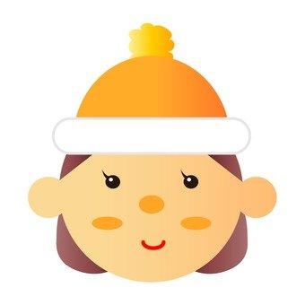 A girl wearing a knit cap