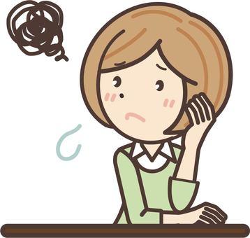 A freelancer woman wearing a suffering shirt