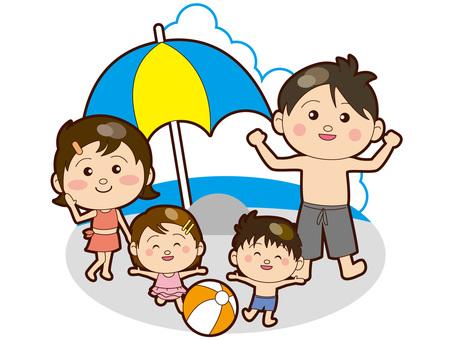 Family enjoying swimming
