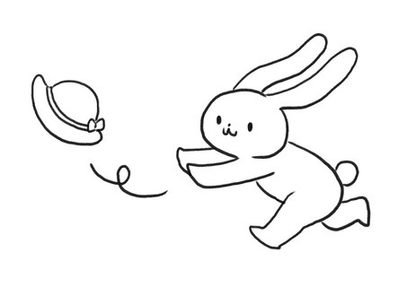 [Line art] A rabbit with a hat flying by strong wind