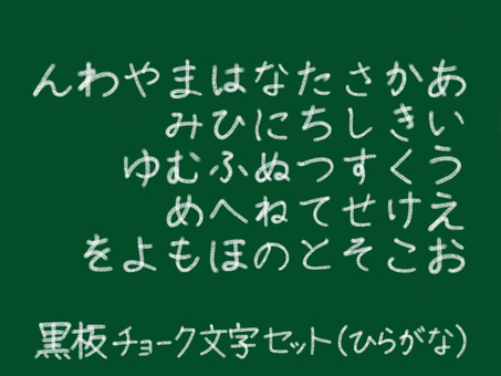 Chalkboard chalk character Hiragana