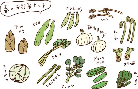 Spring vegetable set color