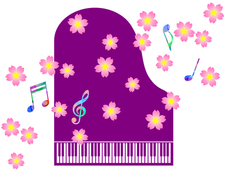 Piano and cherry blossoms and notation