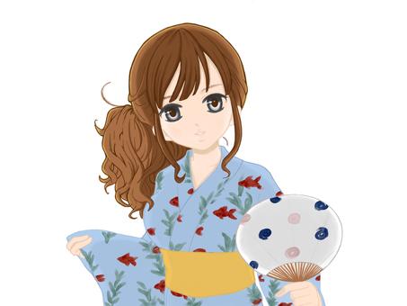 Goldfish yukata girls without background