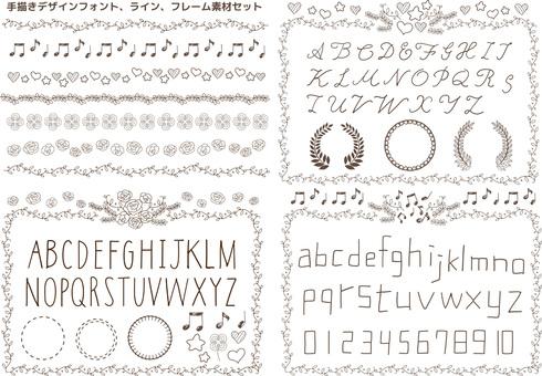 Handwritten design font Line frame frame picture