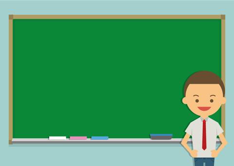Male high school student and blackboard frame
