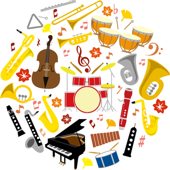 Music Autumn icon wind instruments set