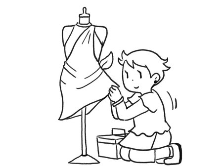 [Line drawing] A clothing designer who makes rework