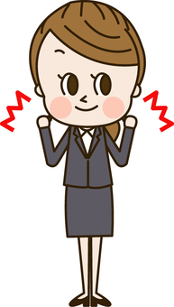 A woman in a suit that makes a guts pose