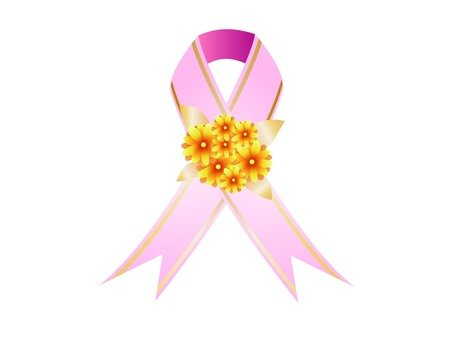 Cross ribbon with flowers (pink)