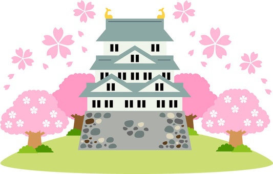 Cherry blossoms and castle