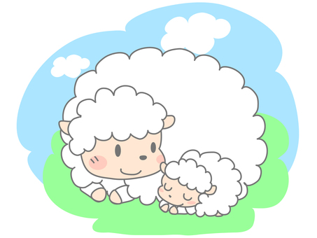 Parent and child of sheep (2 animals)