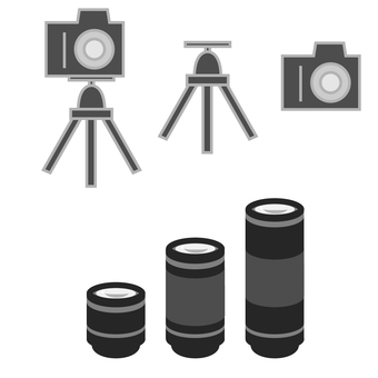 Camera, lens and tripod