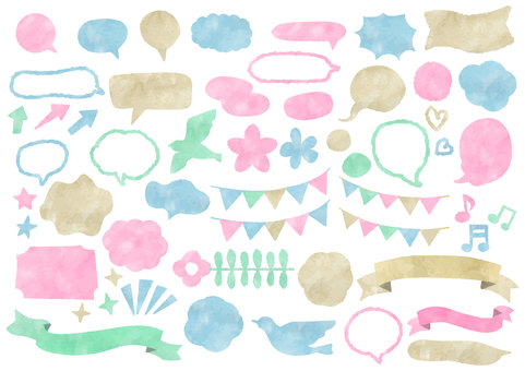 Watercolor material 020 set of speech bubbles