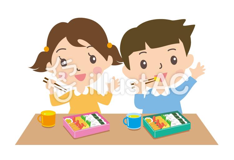 弁当を食べる二人イラスト No 145005無料イラストならイラストac