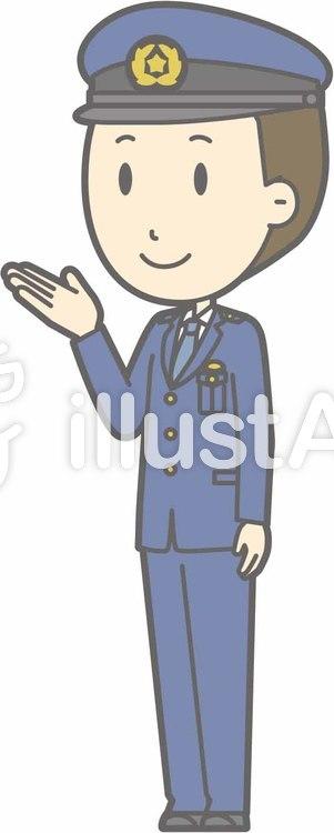 警察官男性a-案内左斜め-全身のイラスト