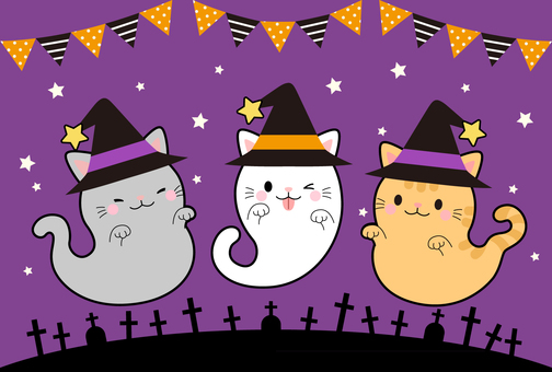 【Halloween】 Illustration of haunted cat
