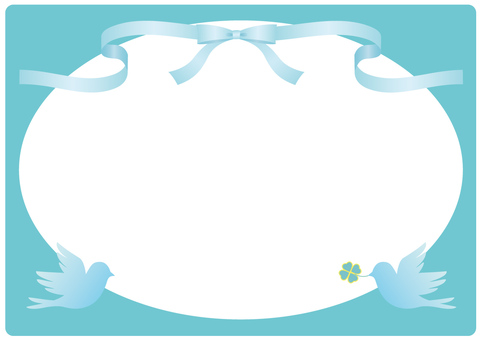 Ribbon and bird frame (light blue)