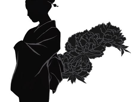 Kimono and peony