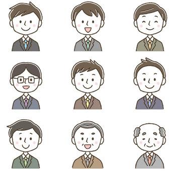 可愛的男性上班族商人集