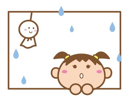 梅雨_窓辺のてるてる坊主と女の子