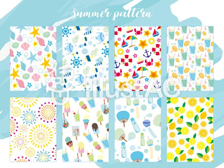 夏の壁紙8パターンイラスト No 無料イラストなら イラストac