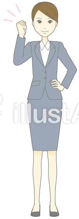 D女性スーツ-ガッツ-全身のイラスト