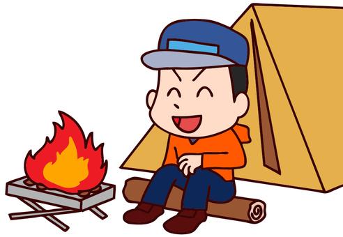 Illustration of men enjoying camping