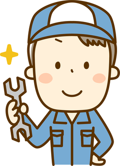 A mechanic with a spanner