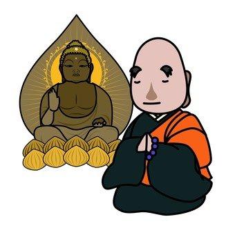 Buddha statue and monk