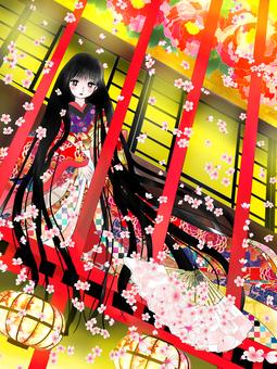 遊郭の少女、桜