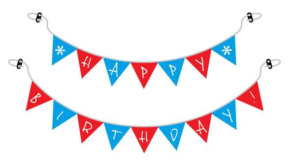 생일 플래그 01 빨강 파랑