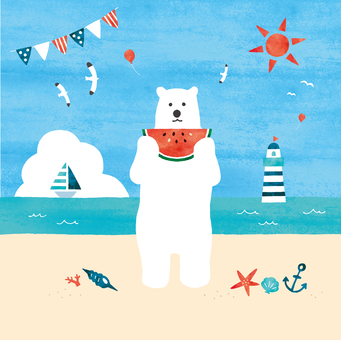 Polar bear and sandy beach