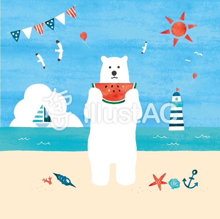 シロクマと砂浜のイラスト