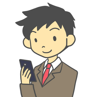 Male student looking at smartphone