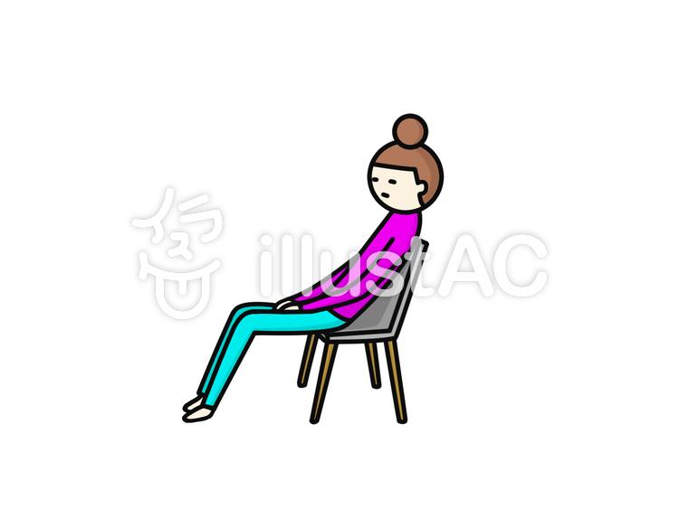 椅子 姿勢が悪いイラスト - No: 927593/無料イラストなら「イラストAC」