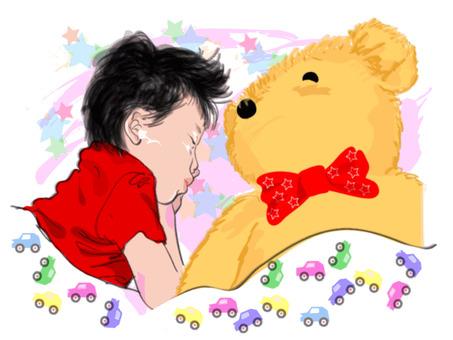 Child and bear plush toy