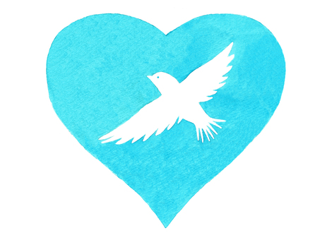 White birds and hearts