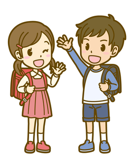Man and woman (child): A_ school bag 03FS