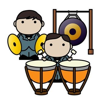 Orchestra, percussion instrument, two person formation