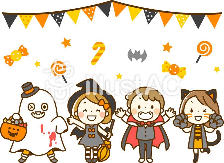 子供達のハロウィンパーティのイラスト