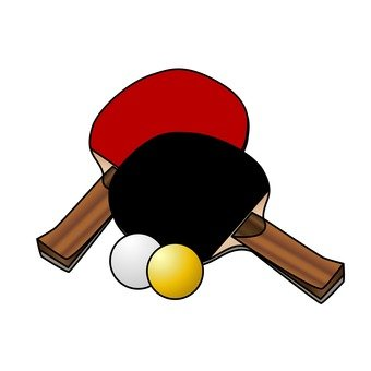 Table tennis racket and ball