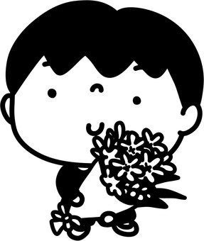 Boy and bouquet _ black and white