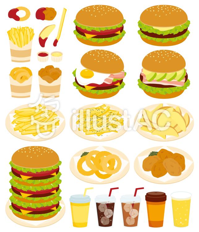 ハンバーガーとサイドメニューイラスト No 738115無料イラストなら