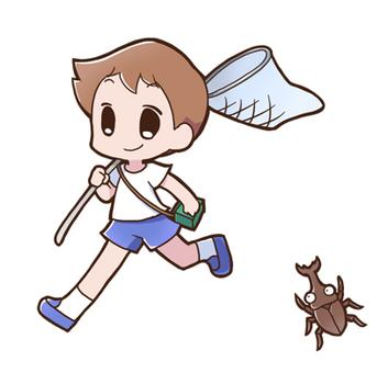 Bug collecting boy