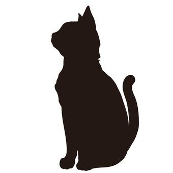[실루엣 소재】 고양이 고개