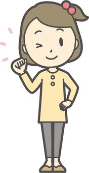 Girl yellow long sleeve-049-whole body