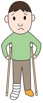 A man who broke his leg